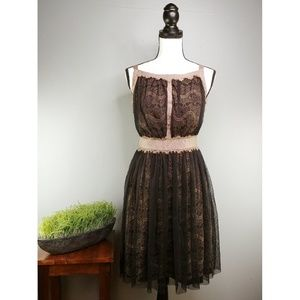 Darling | Black and Tan Lace Dress, Lined